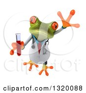 Clipart Of A 3d Green Doctor Springer Frog Leaping And Holding Blood In A Test Tube Royalty Free Illustration