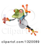 Clipart Of A 3d Green Doctor Springer Frog Leaping To The Left And Holding Blood In A Test Tube Royalty Free Illustration