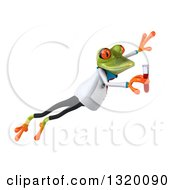 Clipart Of A 3d Green Doctor Springer Frog Leaping To The Right And Holding Blood In A Test Tube Royalty Free Illustration