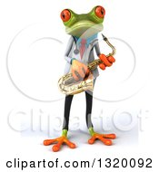 Clipart Of A 3d Green Doctor Springer Frog Holding A Saxophone Royalty Free Illustration