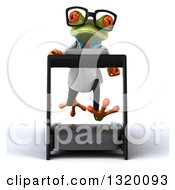 Clipart Of A 3d Bespectacled Green Doctor Springer Frog Running On A Treadmill Royalty Free Illustration