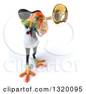 Clipart Of A 3d Green Doctor Springer Frog Wearing Sunglasses And Playing A Trumpet Royalty Free Illustration