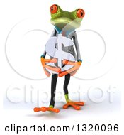 Clipart Of A 3d Green Doctor Springer Frog Walking And Holding A Dollar Symbol Royalty Free Illustration