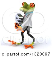 Clipart Of A 3d Green Doctor Springer Frog Walking To The Left And Holding A Dollar Symbol Royalty Free Illustration