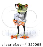 Clipart Of A 3d Bespectacled Green Doctor Springer Frog Looking Down And Holding A Dollar Symbol Royalty Free Illustration