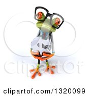 Clipart Of A 3d Bespectacled Green Doctor Springer Frog Looking Up And Holding A Dollar Symbol Royalty Free Illustration
