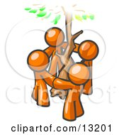 Group Of 4 Orange Man Standing In A Circle Around A Tree Clipart Illustration