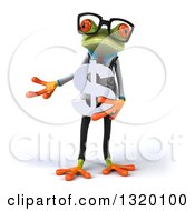 Clipart Of A 3d Bespectacled Green Doctor Springer Frog Presenting And Holding A Dollar Symbol Royalty Free Illustration