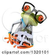 Clipart Of A 3d Bespectacled Green Doctor Springer Frog Leaping And Holding A Dollar Symbol Royalty Free Illustration