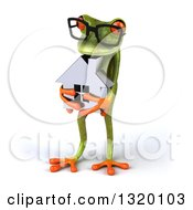 Clipart Of A 3d Bespectacled Green Springer Frog Facing Slightly Left And Holding A House Royalty Free Illustration