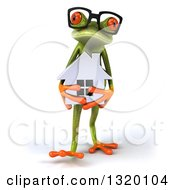 Clipart Of A 3d Bespectacled Green Springer Frog Walking And Holding A House Royalty Free Illustration