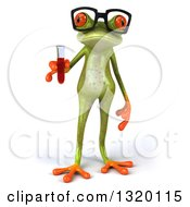 Clipart Of A 3d Bespectacled Green Springer Frog Holding Blood In A Test Tube Royalty Free Illustration