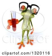 Clipart Of A 3d Bespectacled Green Springer Frog Holding Up Blood In A Test Tube Royalty Free Illustration
