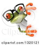 Clipart Of A 3d Casual Green Springer Frog Wearing A White T Shirt And Glasses And Looking Around A Sign Royalty Free Illustration