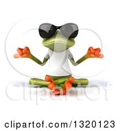 Clipart Of A 3d Casual Green Springer Frog Wearing A White T Shirt And Sunglasses Meditating Royalty Free Illustration