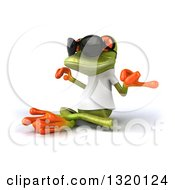 Clipart Of A 3d Casual Green Springer Frog Wearing A White T Shirt And Sunglasses Facing Left And Meditating Royalty Free Illustration
