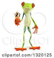 Clipart Of A 3d Argie Frog Holding A Waffle Ice Cream Cone Royalty Free Illustration