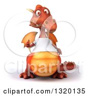 Clipart Of A 3d Casual Red Dragon Wearing A White T Shirt And Giving A Thumb Up Royalty Free Illustration