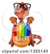 Clipart Of A 3d Bespectacled Red Dragon Flying And Holding A Stack Of Books Royalty Free Illustration