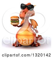 Clipart Of A 3d Red Dragon Wearing Sunglasses And Holding A Double Cheeseburger Royalty Free Illustration
