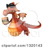 Clipart Of A 3d Red Dragon Wearing Sunglasses Flying To The Left And Holding A Double Cheeseburger Royalty Free Illustration