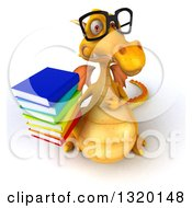Clipart Of A 3d Bespectacled Yellow Dragon Holding And Pointing To A Stack Of Books Royalty Free Illustration