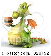 Clipart Of A 3d Green Dragon Facing Facing Left And Holding A Double Cheeseburger Royalty Free Illustration