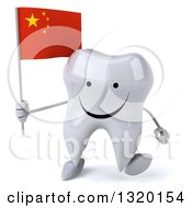 Clipart Of A 3d Happy Tooth Character Walking And Holding A Chinese Flag Royalty Free Illustration