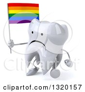 Clipart Of A 3d Unhappy Tooth Character Walking To The Left And Holding A Rainbow Flag Royalty Free Illustration