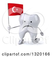 Clipart Of A 3d Unhappy Tooth Character Walking And Holding A Turkish Flag Royalty Free Illustration