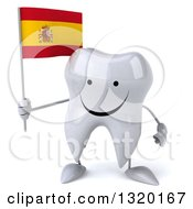 Clipart Of A 3d Happy Tooth Character Holding A Spanish Flag Royalty Free Illustration