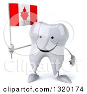 Clipart Of A 3d Happy Tooth Character Holding A Canadian Flag Royalty Free Illustration