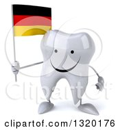 Clipart Of A 3d Happy Tooth Character Holding A German Flag Royalty Free Illustration