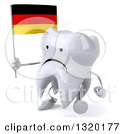 Clipart Of A 3d Unhappy Tooth Character Walking To The Left And Holding A German Flag Royalty Free Illustration
