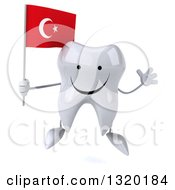 Clipart Of A 3d Happy Tooth Character Jumping And Holding A Turkish Flag Royalty Free Illustration