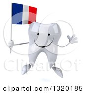 Clipart Of A 3d Happy Tooth Character Jumping And Holding A French Flag Royalty Free Illustration