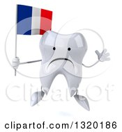 Clipart Of A 3d Unhappy Tooth Character Jumping And Holding A French Flag Royalty Free Illustration