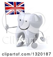 Clipart Of A 3d Happy Tooth Character Walking To The Left And Holding A Union Jack British Flag Royalty Free Illustration