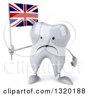 Clipart Of A 3d Unhappy Tooth Character Holding A Union Jack British Flag Royalty Free Illustration