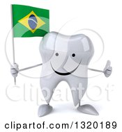 Clipart Of A 3d Happy Tooth Character Holding A Brazilian Flag And Giving A Thumb Up Royalty Free Illustration