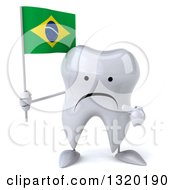 Clipart Of A 3d Unhappy Tooth Character Holding And Pointing To A Brazilian Flag Royalty Free Illustration
