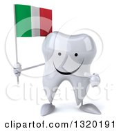 Clipart Of A 3d Happy Tooth Character Holding And Pointing To An Italian Flag Royalty Free Illustration