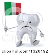 Clipart Of A 3d Unhappy Tooth Character Walking And Holding An Italian Flag Royalty Free Illustration