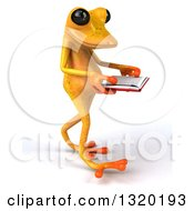 Clipart Of A 3d Yellow Springer Frog Walking To The Right And Reading A Book Royalty Free Illustration by Julos