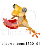 Clipart Of A 3d Yellow Springer Frog Leaping To The Left And Reading A Book Royalty Free Illustration