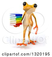 Clipart Of A 3d Yellow Springer Frog Walking And Holding A Stack Of Books Royalty Free Illustration