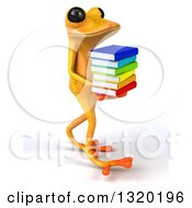 Clipart Of A 3d Yellow Springer Frog Walking To The Right And Holding A Stack Of Books Royalty Free Illustration