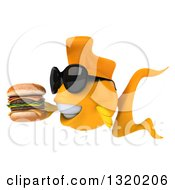 Clipart Of A 3d Happy Yellow Fish Wearing Sunglasses Facing Left And Holding A Double Cheeseburger Royalty Free Illustration