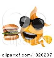 Clipart Of A 3d Happy Yellow Fish Wearing Sunglasses And Holding A Double Cheeseburger Royalty Free Illustration
