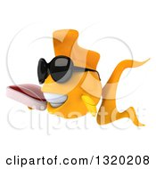 Clipart Of A 3d Happy Yellow Fish Wearing Sunglasses Facing Left And Holding A Beef Steak Royalty Free Illustration